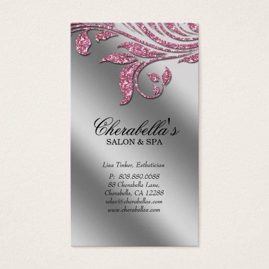 232 Salon Business Card Elegant Pink Silver Sparkl