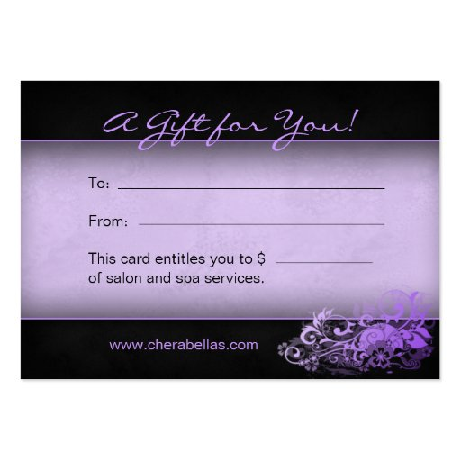 232 Salon Gift Card Spa Floral purple Large Business Cards (Pack Of 100)