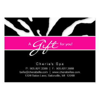 232 Salon Gift Card Zebra Animal Lips Pink Large Business Cards (Pack Of 100)