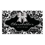 232 Salon Spa Silver Bow Jewel Damask Double-Sided Standard Business Cards (Pack Of 100)