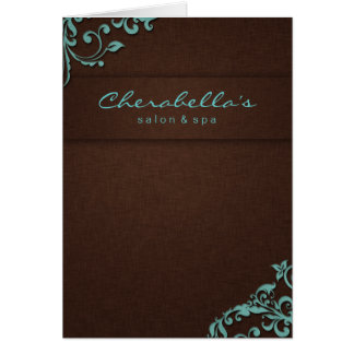 232 Spa Salon Brochure Blue Brown Linen Floral 2 Greeting Card