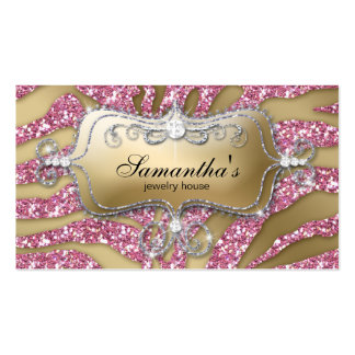 232 Sparkle Jewelry Business Zebra Gold Pink Silv Double-Sided Standard Business Cards (Pack Of 100)