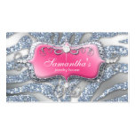 232 Sparkle Jewelry Zebra Pink Silver Double-Sided Standard Business Cards (Pack Of 100)
