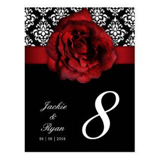 232 Table Number Postcard Red Rose Damask Floral