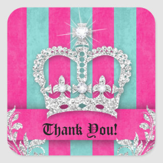 232 Thank You Stripes Jewelry Pink Crown Blue Square Sticker