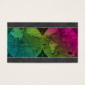 232 Travel Business Card World Map Globe Colorful