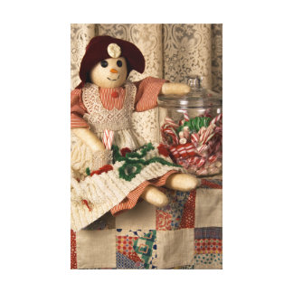 2335 Snowman Doll on Quilt Canvas Print