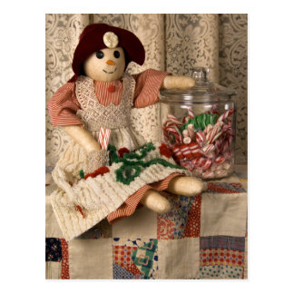2335 Snowman Doll on Quilt Postcard