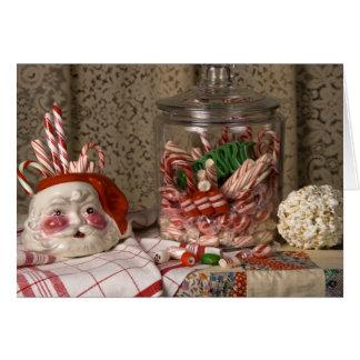 2345 Santa Vase & Candy Canes Christmas Card