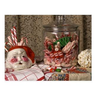 2345 Santa Vase & Candy Canes Christmas Postcard