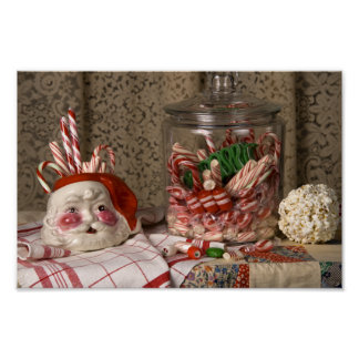 2345 Santa Vase & Candy Canes Christmas Poster