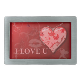 238920 RED LOVE YOU HEARTS KISSES ANNIVERSARY MARR RECTANGULAR BELT BUCKLE