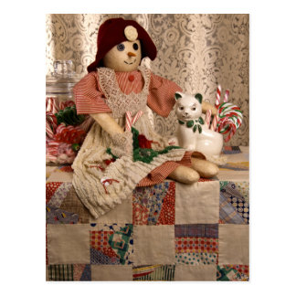 2390 Snowman Doll on Quilt Christmas Post Cards