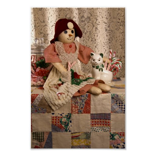 2390 Snowman Doll on Quilt Christmas Poster