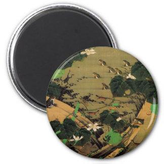 23. 池辺群虫図, 若冲 Living Beings with Pond, Jakuchū 2 Inch Round Magnet