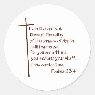 23:4 de los salmos pegatina redonda