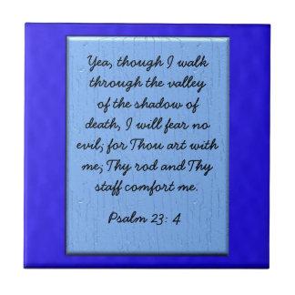 23:4 del salmo azulejo cuadrado pequeño