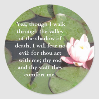23:4 inspirador del salmo de la escritura de la bi pegatinas redondas