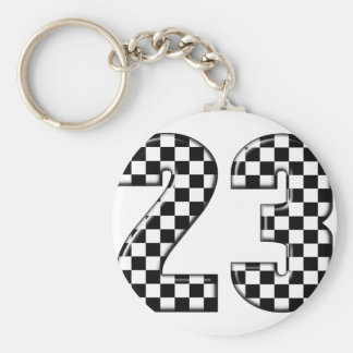 23 auto racing number basic round button keychain
