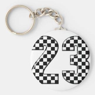 23 auto racing number keychain