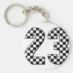 23 auto racing number keychains
