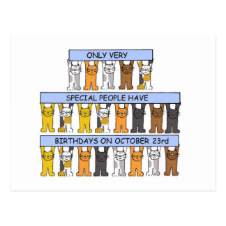 23 de octubre cumpleaños celebrados por los gatos postales