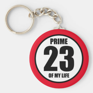 23 - prime of my life keychain