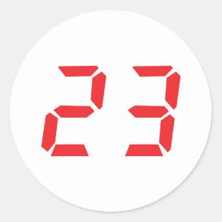 23 veintitrés números digitales del despertador pegatina redonda