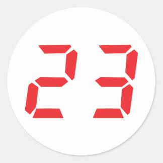 23 veintitrés números digitales del despertador etiqueta redonda