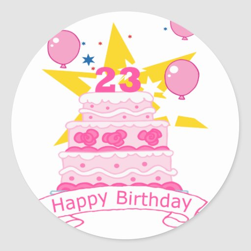 Birthday Cake Images For 23 Year Old : 23 Year Old Birthday Cake Round Stickers Zazzle