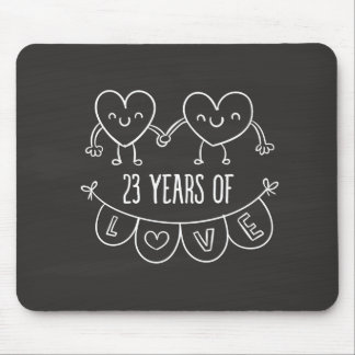 23rd Anniversary Gift Chalk Hearts Mouse Pad