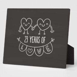 23rd Anniversary Gift Chalk Hearts Plaque