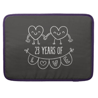 23rd Anniversary Gift Chalk Hearts Sleeves For MacBook Pro