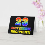 [ Thumbnail: 23rd Birthday: Bold, Fun, Simple, Rainbow 23 Card ]