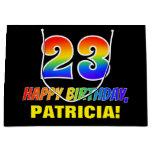 [ Thumbnail: 23rd Birthday: Bold, Fun, Simple, Rainbow 23 Gift Bag ]