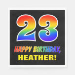 [ Thumbnail: 23rd Birthday: Bold, Fun, Simple, Rainbow 23 Napkins ]