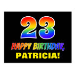 [ Thumbnail: 23rd Birthday: Bold, Fun, Simple, Rainbow 23 Postcard ]
