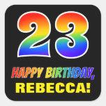 [ Thumbnail: 23rd Birthday: Bold, Fun, Simple, Rainbow 23 Sticker ]