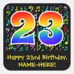 [ Thumbnail: 23rd Birthday: Colorful Music Symbols, Rainbow 23 Sticker ]