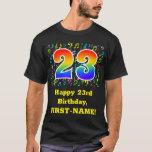 [ Thumbnail: 23rd Birthday: Colorful Music Symbols, Rainbow 23 T-Shirt ]