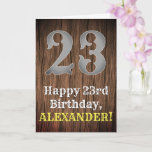 [ Thumbnail: 23rd Birthday: Country Western Inspired Look, Name Card ]