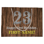 [ Thumbnail: 23rd Birthday: Country Western Inspired Look, Name Gift Bag ]