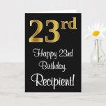 [ Thumbnail: 23rd Birthday ~ Elegant Luxurious Faux Gold Look # Card ]