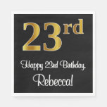[ Thumbnail: 23rd Birthday ~ Elegant Luxurious Faux Gold Look # Napkins ]