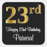 [ Thumbnail: 23rd Birthday – Elegant Luxurious Faux Gold Look # Sticker ]