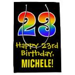 "[ Thumbnail: 23rd Birthday: Fun, Bold, Colorful, Rainbow ""23"" Gift Bag ]"