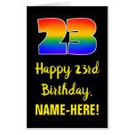 [ Thumbnail: 23rd Birthday: Fun, Colorful, Happy, Rainbow # 23 Card ]