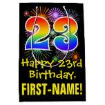 [ Thumbnail: 23rd Birthday: Fun Fireworks Pattern + Rainbow 23 Gift Bag ]