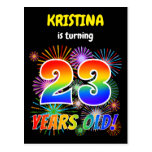 "[ Thumbnail: 23rd Birthday - Fun Fireworks, Rainbow Look ""23"" Postcard ]"