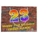 [ Thumbnail: 23rd Birthday: Fun, Graffiti-Inspired Rainbow # 23 Gift Bag ]